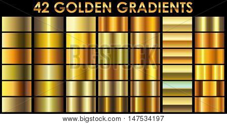 Set of 42 golden color vector gradients with black background. All gradients are added to swatches and ready for use.