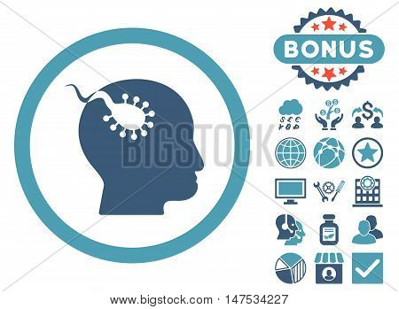Brain Parasite icon with bonus pictogram. Vector illustration style is flat iconic bicolor symbols, cyan and blue colors, white background.