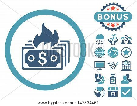 Burn Banknotes icon with bonus pictures. Vector illustration style is flat iconic bicolor symbols, cyan and blue colors, white background.