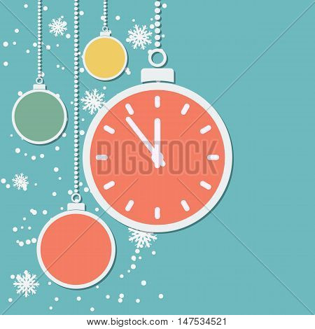 Retro style Christmas and New Year vector background with colorful paper balls and cartoon watch
