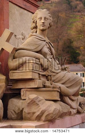 Goddies of Statue of Minerva on the Old Bridge in Heidelberg Germany