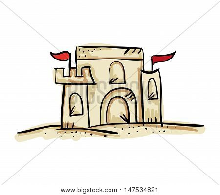 sandcastle with red flags. fun summer activity. drawn design vector illustration