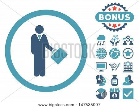 Businessman icon with bonus pictures. Vector illustration style is flat iconic bicolor symbols, cyan and blue colors, white background.