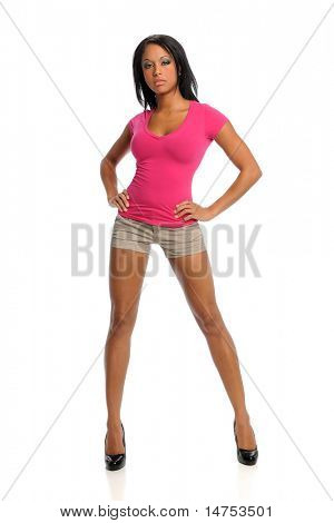 Portrait of beautiful African American woman standing over white background