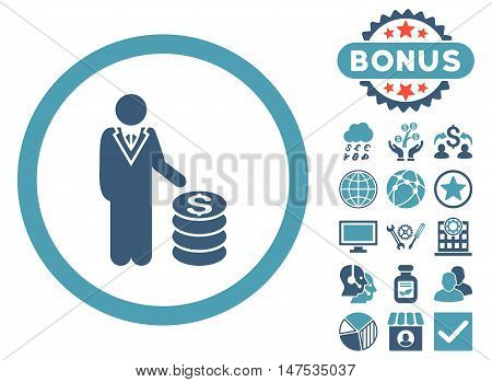 Businessman icon with bonus elements. Vector illustration style is flat iconic bicolor symbols, cyan and blue colors, white background.