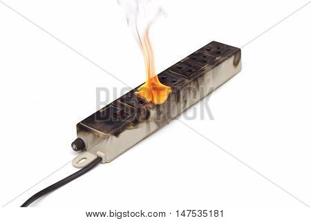 Surge protector caught on fire due to overheat