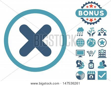 Cancel icon with bonus images. Vector illustration style is flat iconic bicolor symbols, cyan and blue colors, white background.
