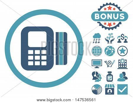 Card Processor icon with bonus images. Vector illustration style is flat iconic bicolor symbols, cyan and blue colors, white background.
