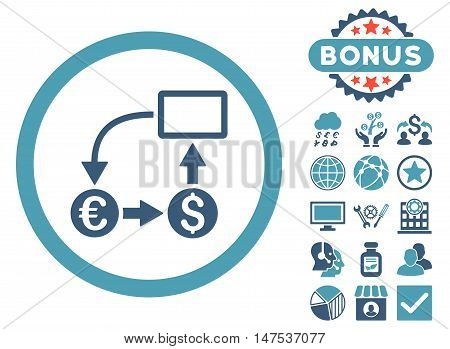 Cashflow Euro Exchange icon with bonus pictures. Vector illustration style is flat iconic bicolor symbols, cyan and blue colors, white background.
