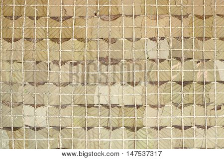 Dry leaf wall background / Home made wall from local material of people in the northeastern region of Thailand