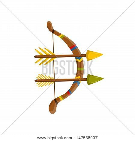 Vector illustration with cartoon arrows and bow. Archery icon. Indian ancient antique weapon in cartoon style. Vector archery colorful icon. Isolated bow with arrows on white background