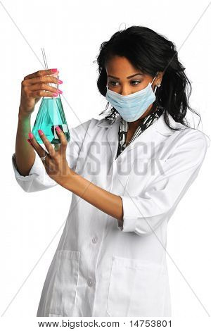 Female African American lab technician analyzing liquid in flask isolated over white background