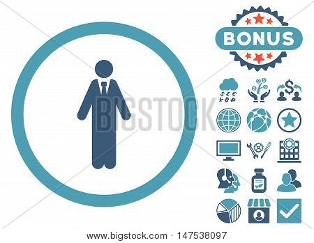 Clerk icon with bonus images. Vector illustration style is flat iconic bicolor symbols, cyan and blue colors, white background.