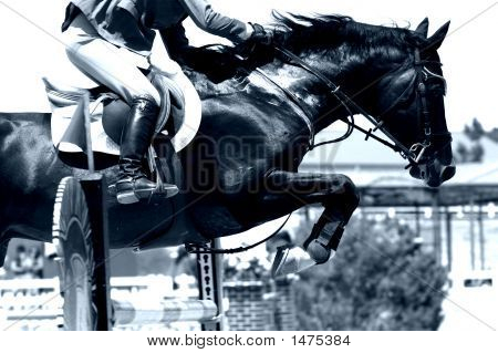 Crossing The Hurdle – Equestrian Theme (Blue Tone)