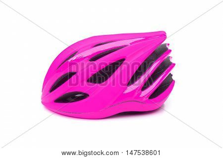 bicycle helmet in pink color isolated on white