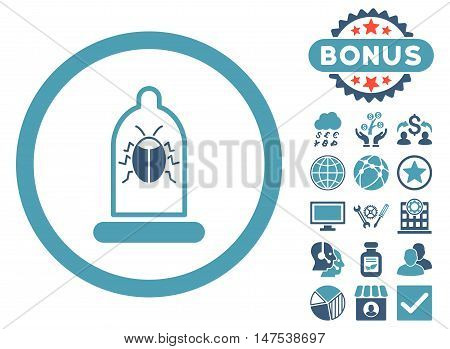 Condom Bug icon with bonus elements. Vector illustration style is flat iconic bicolor symbols, cyan and blue colors, white background.