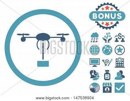 Copter Shipment icon with bonus images. Vector illustration style is flat iconic bicolor symbols, cyan and blue colors, white background.