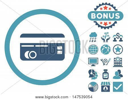Credit Card icon with bonus elements. Vector illustration style is flat iconic bicolor symbols, cyan and blue colors, white background.
