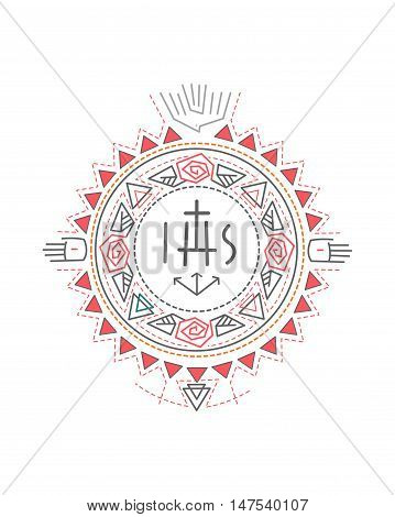 Hand drawn vector illustration or drawing of a composition of religious symbols