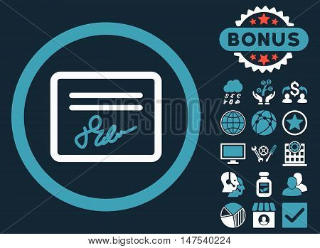 Agreement icon with bonus symbols. Vector illustration style is flat iconic bicolor symbols, blue and white colors, dark blue background.