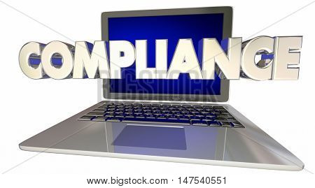 Compliance Laptop Computer Rules Online Laws Regulations 3d Illustration