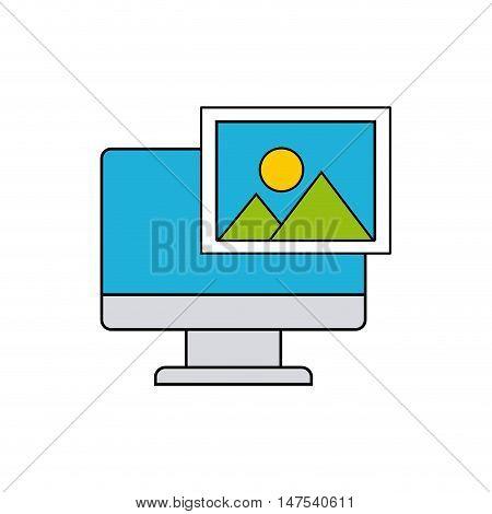 monitor computer with social media icon vector illustration design