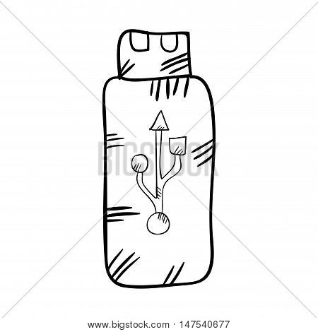 usb flash drive. data storage device. drawn design vector illustration