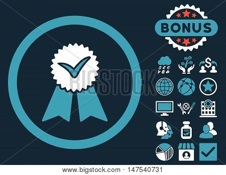 Approvement Seal icon with bonus images. Vector illustration style is flat iconic bicolor symbols, blue and white colors, dark blue background.