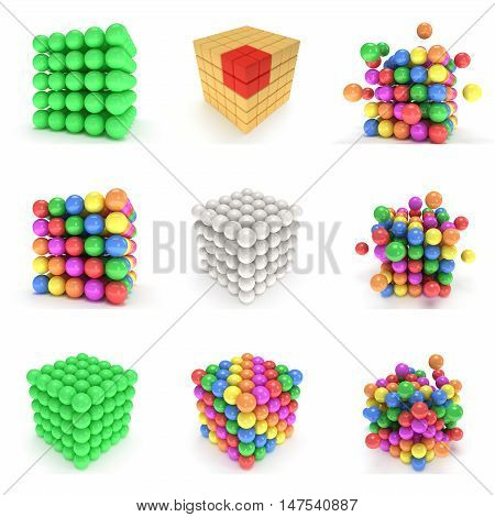 Abstract 3d cubes and balls set Composition of 3d cubes. 3d render illustration isolated on white. Assembling concept. Teamwork Business. 3D render icon.