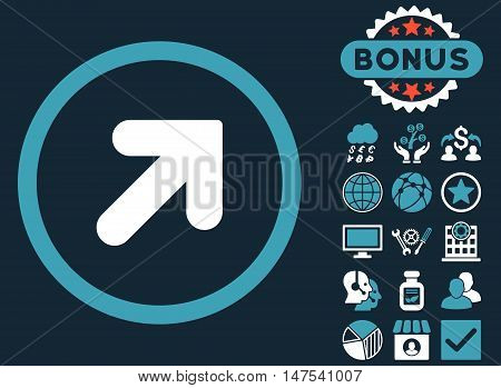Arrow Up Right icon with bonus pictures. Vector illustration style is flat iconic bicolor symbols, blue and white colors, dark blue background.