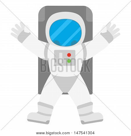 Spaceman astronaut in outer space. Vector illustration isolated on white background.