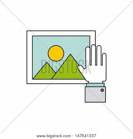 hand social media icon vector illustration design