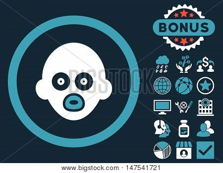 Baby Head icon with bonus design elements. Vector illustration style is flat iconic bicolor symbols, blue and white colors, dark blue background.