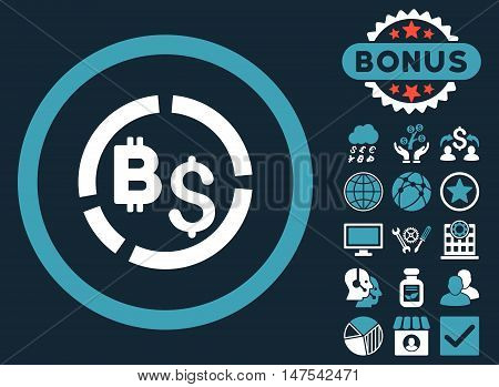 Bitcoin Financial Diagram icon with bonus elements. Vector illustration style is flat iconic bicolor symbols, blue and white colors, dark blue background.