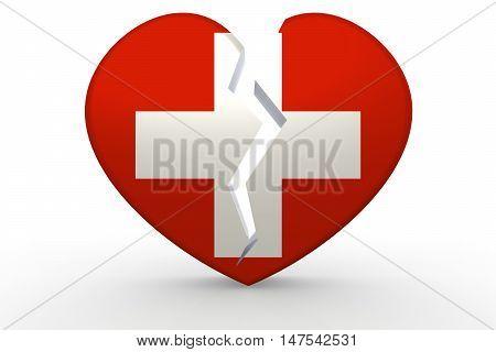 Broken White Heart Shape With Switzerland Flag