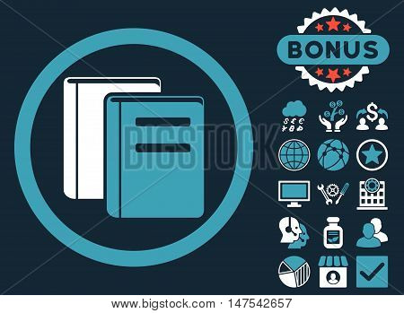 Books icon with bonus symbols. Vector illustration style is flat iconic bicolor symbols, blue and white colors, dark blue background.
