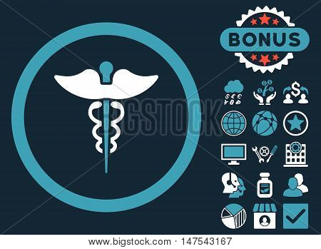 Caduceus icon with bonus elements. Vector illustration style is flat iconic bicolor symbols, blue and white colors, dark blue background.