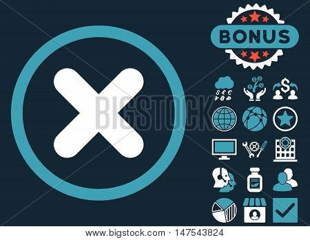 Cancel icon with bonus design elements. Vector illustration style is flat iconic bicolor symbols, blue and white colors, dark blue background.