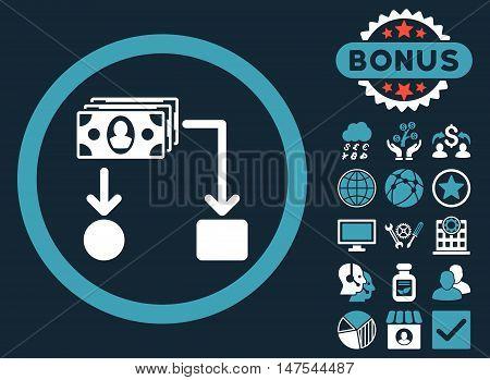 Cashflow icon with bonus design elements. Vector illustration style is flat iconic bicolor symbols, blue and white colors, dark blue background.