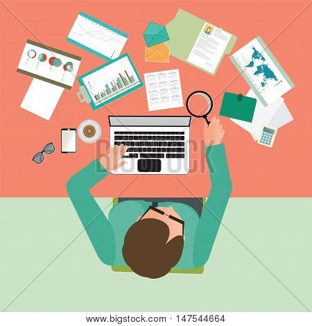 Top view of Busy businessman working hard on his desk in office with a lot of paper work office desk Business conceptual on hard working cartoon flat design vector illustration..