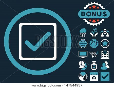 Checkbox icon with bonus symbols. Vector illustration style is flat iconic bicolor symbols, blue and white colors, dark blue background.