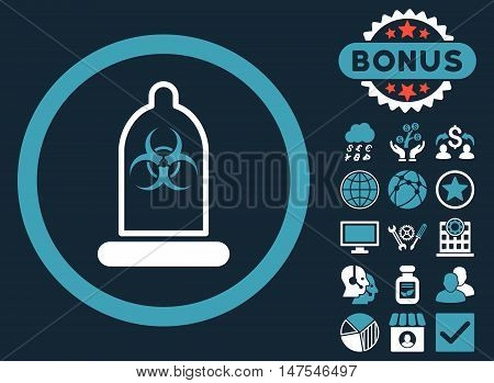 Condom Biohazard icon with bonus images. Vector illustration style is flat iconic bicolor symbols, blue and white colors, dark blue background.