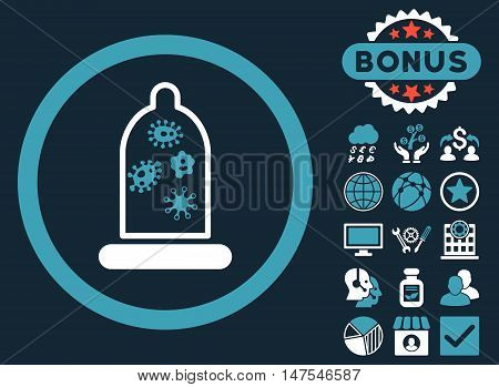 Condom Microbes icon with bonus elements. Vector illustration style is flat iconic bicolor symbols, blue and white colors, dark blue background.
