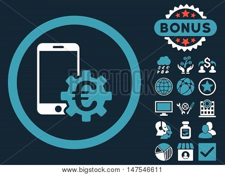 Configure Mobile Euro Bank icon with bonus images. Vector illustration style is flat iconic bicolor symbols, blue and white colors, dark blue background.