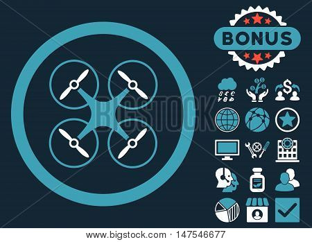 Copter icon with bonus design elements. Vector illustration style is flat iconic bicolor symbols, blue and white colors, dark blue background.