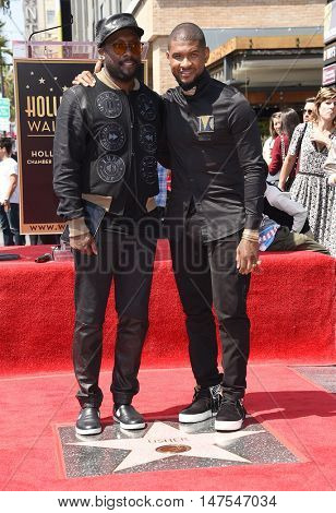 LOS ANGELES - SEP 07:  Will.I.Am and Usher arrives to the Walk of Fame honors Usher on September 07, 2016 in Hollywood, CA