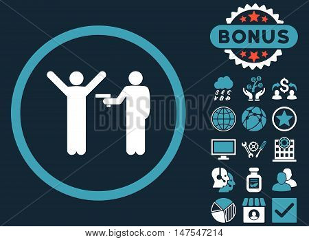 Crime icon with bonus design elements. Vector illustration style is flat iconic bicolor symbols, blue and white colors, dark blue background.