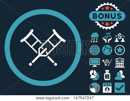 Crutches icon with bonus elements. Vector illustration style is flat iconic bicolor symbols, blue and white colors, dark blue background.