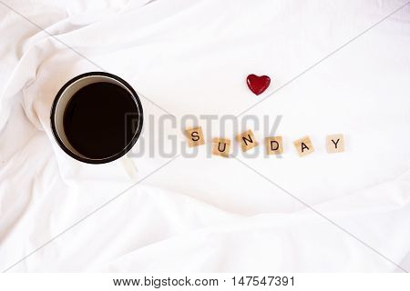 Coffee In Bed And Wooden Letters