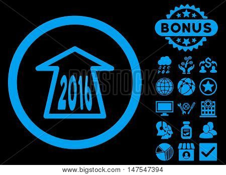 2016 Ahead Arrow icon with bonus elements. Vector illustration style is flat iconic symbols, blue color, black background.
